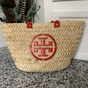 Tory Burch Audrey Straw Tote in red